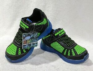 Skechers Toddler Boy's Tuff Track Black/Blue/Lime Light-up Sneakers-Sz 7/8/9 NWB