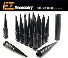 24 PC Solid Spline Spike Lug Nuts Kit | Black | 12x1.5 | Chevy | with Key