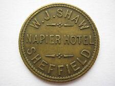Napier Hotel Sheffield W J Shaw 3d pub token brass 29mm EF