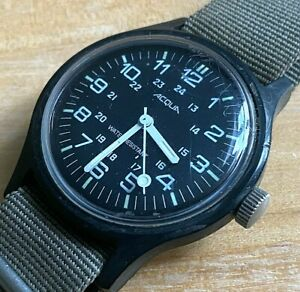 VTG Acqua Timex Men Military Dial Hand-Wind Mechanical Watch Hours~Winding Issue