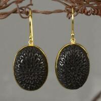 18K Gold Vermeil over Sterling Silver Hook Earrings & Black Buffalo Horn 6.20 g