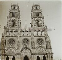 Francia Orleans Cattedrale Façade c1910 Foto Stereo Placca Da Lente VR12c