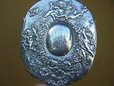 RARE ANTIQUE TIFFANY + CO STERLING SILVER HAND MIRROR VANITY SET CHERUBS FLOWERS