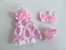Vestido De Noche Muñeca Barbie Rosa Encaje Lencería Ropa Interior Sujetador Bragas 3 piezas de este conjunto