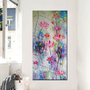 Handmade Large Size Oil Paintings Home Decor Wall Picture Colorfull Lotus Flower