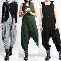 Mode Femme Combinaison à capuche Sans manche Poche Bouton Loisir Pantalon Plus
