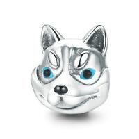 925 Sterling Silver Husky Dog Sled Dog Charm Bead Fit European Bracelet Necklace
