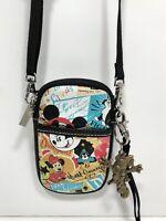 Disney Parks Crossbody Zippered Pouch Disneyland Small Purse & Minnie Keychain