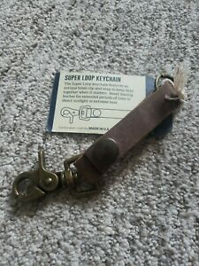 Rustico Keychain Leather Loop Snap Chain Ring Holder Brass Key Clip