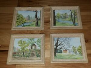 Lot 4 Vintage Mid Century Framed Landscape group signed stream barn bridge oil?