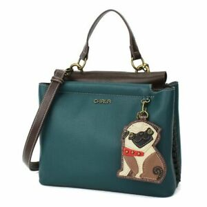 New Chala SATCHEL Tote Crossbody Bag Turquoise Blue PUG Coin Purse gift