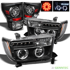 For 2007-2013 Toyota Tundra Twin Halo LED Pro Headlights+LED Tail Lights Set