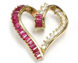 """1.8 ct tw Natural Red Ruby & Diamond Solid 14k Yellow Gold Heart Pendant 0.9"""" L"""