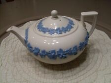 WEDGWOOD QUEENS WARE LAVENDER ON CREAM 4 CUP TEAPOT WITH LID-PLAIN SMOOTH EDGE