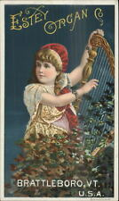 Victorian Trade Card Brattleboro VT Estey Organ Co Child & Harp 3x5 Inches