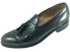 SH4 Johnston & Murphy 11D Black Wingtip Brogue Tassel Kiltie Loafer Shoes