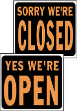 """15 x 19-Inch Hy-Glo Orange/ Black Plastic """"Open/ Closed"""" Reversible Sign - Pack"""