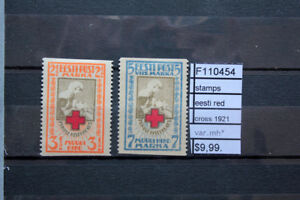 STAMPS EESTI RED CROSS 1921 VARIETY MNH** (F110454)
