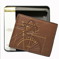 FOSSIL Bicycle RFID FLip ID Bifold Peter Wallet ML3984222 New In Metal Box NWT