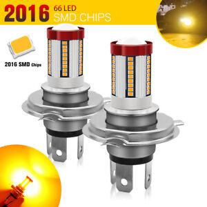 2X H4 9003 LED 66SMD Fog Light HB2 Amber Hi/Lo Beam DRL Driving Lamp Bulb Bright