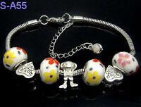Handmade European porcelain charms beaded bracelet lobster clasp LS_A55 Gift