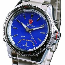 Shark Stainless Steel Dual Time Digital Analog Blue Dial Men's Sport Watch