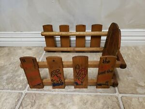 Antique Vintage Wooden Child's Side & Back to Sled ~ The Cat and the Fiddle