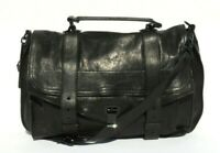 PROENZA SCHOULER Black Leather Coated HW Large PS1 Satchel Messenger Bag $2150