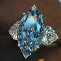UK Fashion 925 Silver Wedding Rings Women Marquise Cut Aquamarine Rings # 6-10