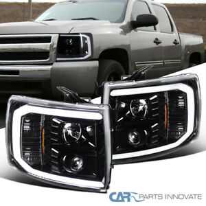 For Chevy 07-14 Silverado Pickup LED Pearl Black Projector Headlights Head Lamps