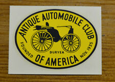 VINTAGE WATER DECAL ANTIQUE AUTOMOBILE CLUB OF AMERICA HORSELESS CARRIAGE OLD