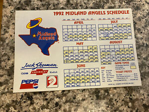 1992 Midland Angels Baseball Magnetic Schedule Angels Affiliate Rare Offering