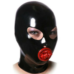 Latex Hood with Inner Red Mouth Condom Open Eyes Nose Back Zipper Rubber Mask