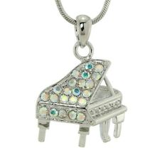 Piano Made With Swarovski Crystal AB Music Grand Piano Jewelry Necklace Chain