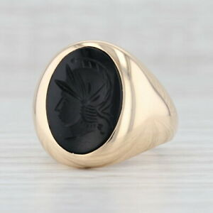 Carved Onyx Intaglio Ring 10k Yellow Gold Size 10 Church & Co Signet