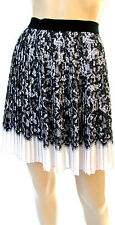 DESIGNER DKNY BLACK & WHITE LACE PRINT PLEATED SKIRT SIZE 10 R