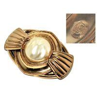GIL D'AGENA broche vintage de couleur or cabochon de perle nacrée bijou brooch