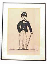 Charlie Chaplin 25 x 19 Glass Framed Needlepoint on Canvas Art Picture RARE
