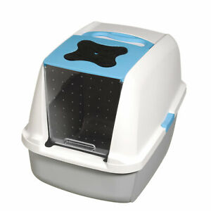 Catit Hooded Cat Pan, Blue Hooded Litter Tray