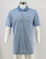 Peter Millar Summer Comfort Polo Shirt Size Large Blue Striped Quick Dry Mens