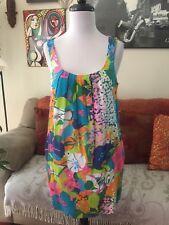 TORI RICHARD sz 2 Colorful Hawaiian Floral Print Mini Shift Dress Made in Hawaii