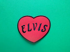 HEAVY METAL PUNK ROCK MUSIC SEW ON / IRON ON PATCH:- ELVIS (b) RED LOVE HEART