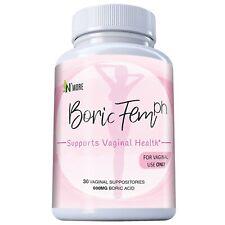 Boricfem Boric Acid Vaginal Suppositories - 30 Count, 600mg