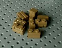 Lego Brick with Masonry Effect 1x2 [98283] Dark Beige Tan x8