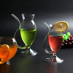 Glass Cup With Straw Drinking Tube Wine Whiskey Cocktail Juice Mug Party Bar UK