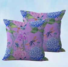 US Seller-set of 2 decorative butterfly dragonfly flower hydrangea cushion cover