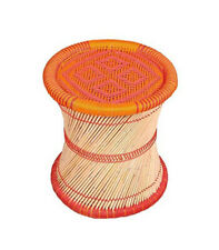 KSM Eco Friendly Cane Bar Bamboo Muddha Vintage Handmade Stool Orange Red 1piece