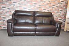 F.V. GLIDER, ELECTRIC RECLINER 3 SEATER SOFA IN DARK BROWN LEATHER