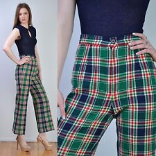 VTG 60s Green PENDLETON Knockabouts Plaid TWEED High Waist Wide Leg Crop Pants S