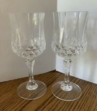 2  Saint George Cut Crystal Belmont Wine Glasses Stemware Barware Glassware